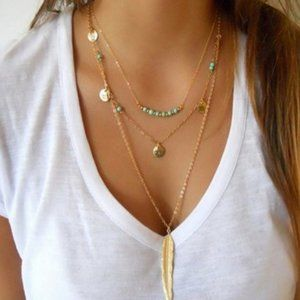 Necklace Fashion multilyer feather jewelry